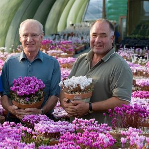 John with Philip Baulk in the cyclamen house at Ashood